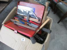 A large box of gardening tools etc