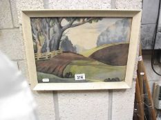 A 'loose' art deco style landscape framed and glazed watercolour initialled M.A.B, image 34 x 24 cm.
