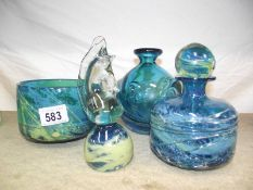 4 pieces of blue art glass, 2 marked Mdina.
