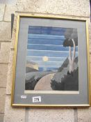 A framed and glazed 'Deco' semi abstract painting 'Moonrise' signed E A N Swythe Webb,