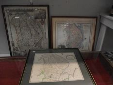 3 framed and glazed maps of Lincoln and Lincolnshire