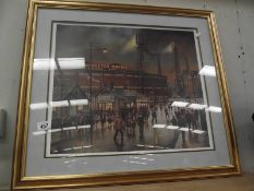 A framed and glazed pencil signed limited edition print 71/850 'Going to the match' (Manchester