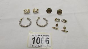 5 pairs of earrings including 9ct gold.