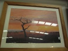 A signed framed and glazed print of a sunset