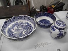 A Mason's blue and white bowl, a ginger jar and one other bowl.