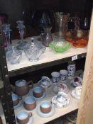 2 shelves of art glass, cups & saucers etc.
