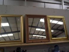 2 gilt framed mirrors and a wooden framed mirror