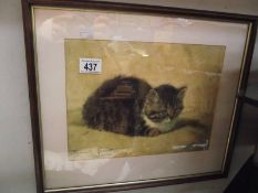 A framed and glazed print of 'A Pretty Kitten' after Henriette Ronner-Knip' 1821-1909