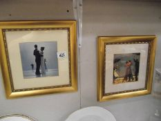 2 framed and glazed prints depicting dancers from early 20th century