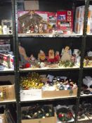 4 shelves of Christmas decorations including vintage.