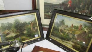 A pair of framed and glazed oil paintings be E Walton RSA (Edward Arthur) of Anne Hathaways cottage