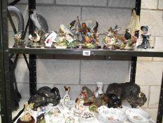 2 shelves of figurines.