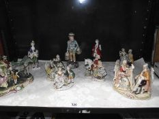 A mixed lot of continental pottery and porcelain figures.