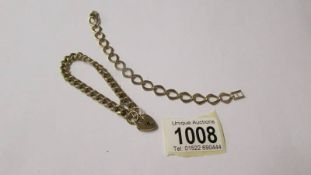 2 9ct gold bracelets, one with gold padlock, 31 grams (re-entered due to non paying bidder).