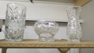2 good quality cut glass vases and a cut glass rose bowl.