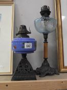 2 Victorian oil lamps with blue glass fonts