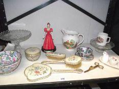 A mixed lot including Crown Devon condiment set, dressing table set etc.