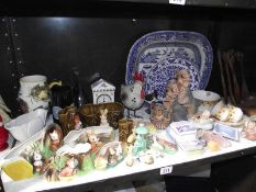 A good lot of old ceramics including blue and white plates.