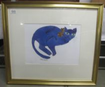 Andy Warhol (1928-1987) Lithographic plate signed print of a blue cat,
