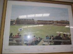 A limited edition framed and glazed print by Arthur Weaver 'Centenary Test' England v Australia at