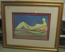 A modernist figural (nude)abstract painting in watercolours signed Zelie.