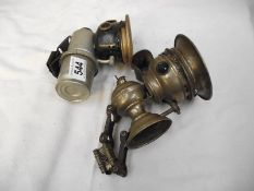 2 old carbide lamps, 1 a/f.