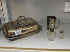 2 silver rimmed scent bottles, a silver plate tureen and a silver plate tankard.