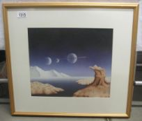 Kevin Gubbins Watercolour painting of a surrealist planetary land/seascape in the style of Salvador