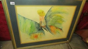 A large framed and glazed fairy print.