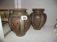 A pair of large Doulton vases by Elizabeth Simmons.