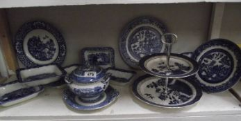 2 shelves of mixed china including blue and white Royal Doulton cake stand