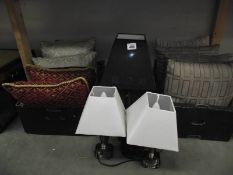 3 table lamps and a quantity of cushions