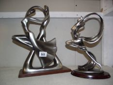 2 reproduction art deco style figures.