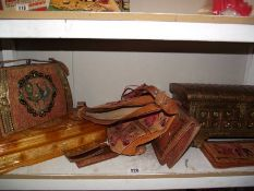 A selection of Indian leather bags, a wooden box etc.