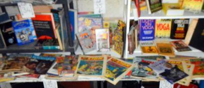 A long shelf of assorted comics including Joe 90, Return of the Jedi, Lion, Batman etc.