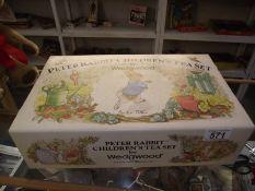 A boxed Wedgwood Beatrix Potter Peter Rabbit children's tea set.