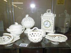 7 pieces of Royal Creamware including clock.