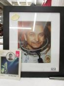 A framed and glazed Russian cosmonaut photo and book - Kocmohabt - 5.