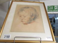 A pastel portrait of a small child.