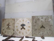 3 Grandfather clock movements, a/f, for spares or repair,