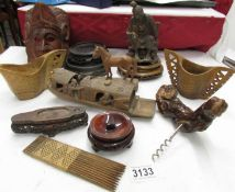A mixed lot of carved wood items including oriental bases, carved jug & cup, horse etc.