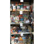 4 shelves of football related memorabilia including programmes, hard back books, paperback books,