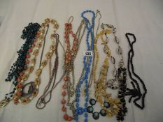A mixed lot of necklaces including pearls.