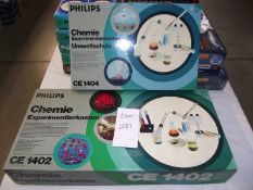 2 Philips chemistry sets (German) CE1404 and CE1402, small one is sealed inside,