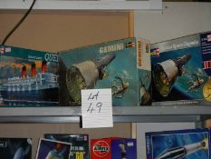 3 Revell model kits being Queen Mary Liner and 2 Gemini capsules.