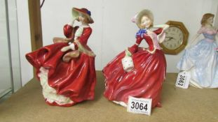 Two Royal Doulton figurines 'Top 'o the Hill' Hn1834 and 'Autumn Breezes' HN 1934.