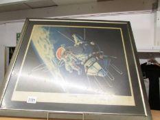 A framed and glazed print entitled Alexei Leonov's 'First Walk' hand signed,