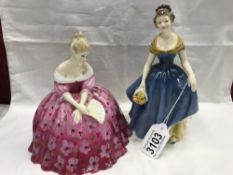 2 Royal Doulton figurines, Victoria HN2471 and Melanie HN2271.