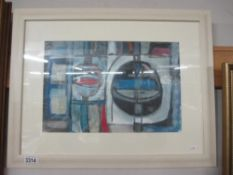 Cornish school abstract painting in acrylics entitled 'Cornish boat & harbour study' signed with