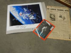 An original signed print entitled Alexei Leonov's 'First Walk' hand signed,